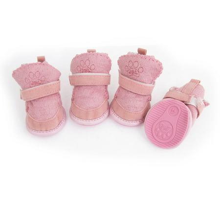 Size 4 Nonslip Sole Doggy Dog Snow Boots Style Shoes Pink 4 Pcs - image 1 de 1