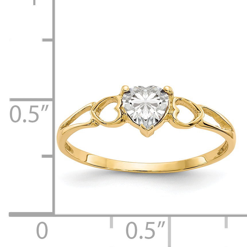 14k Yellow Gold White Topaz Birthstone Band Ring Size 7.00 Stone April Fine Jewelry Gifts For Women For Her - image 1 of 2