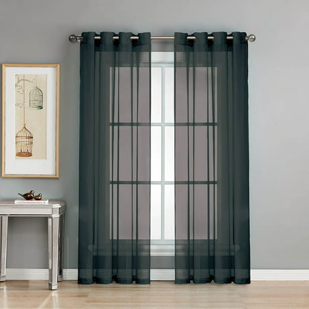Kim 2 Piece Set Sheer Window Curtain Grommet Panel Drapes 63 Long Solid Black