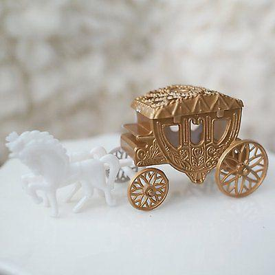 Vintage Fairy Tale Cinderella Gold Horse and Carriage Coach Cake Topper