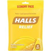 HALLS Relief Honey Lemon Cough Drops, Economy Pack, 80 Drops