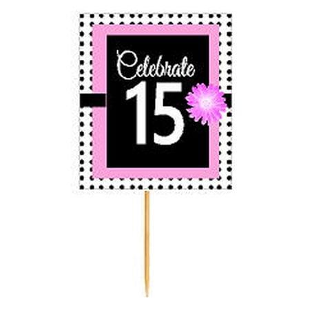 CakeSupplyShop Item#BPP-015 Happy 15th Birthday Pink w. Black Polka Dot Novelty Cupcake Decoration Topper Picks -12ct](Polka Dot Decorations Birthday)
