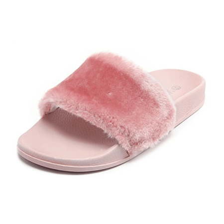 831e843329a phoebecat - Black   Pink   Gray Faux Fur Open Toe Shoes Soft Slide Fluffy Flip  Flops for Fall
