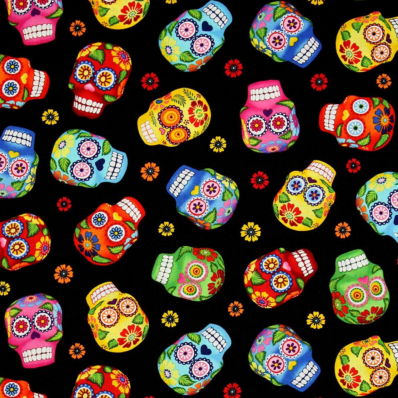 Timeless Treasures 0316328 Cantina Skulls Fabric by The Yard Black