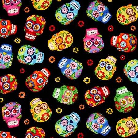 Timeless Treasures Fabric Fun Cantina Skull Fabric GM-C 1847 ~ HALF YARD ~ Fun Folk Art Sugar Skulls Skull Tattoo Quilt Fabric 100% Cotton 45