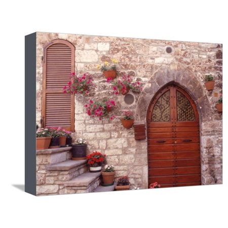 Exterior of House with Flowers, Italy Stretched Canvas Print Wall Art By Robin Allen