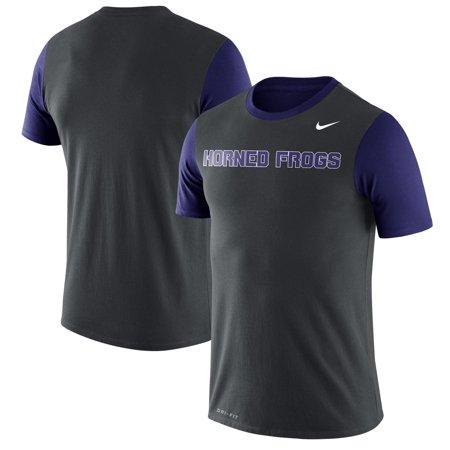 TCU Horned Frogs Nike Wordmark Championship Drive Performance Tri-Blend T-Shirt - Charcoal (Nike Mens Championship Game)