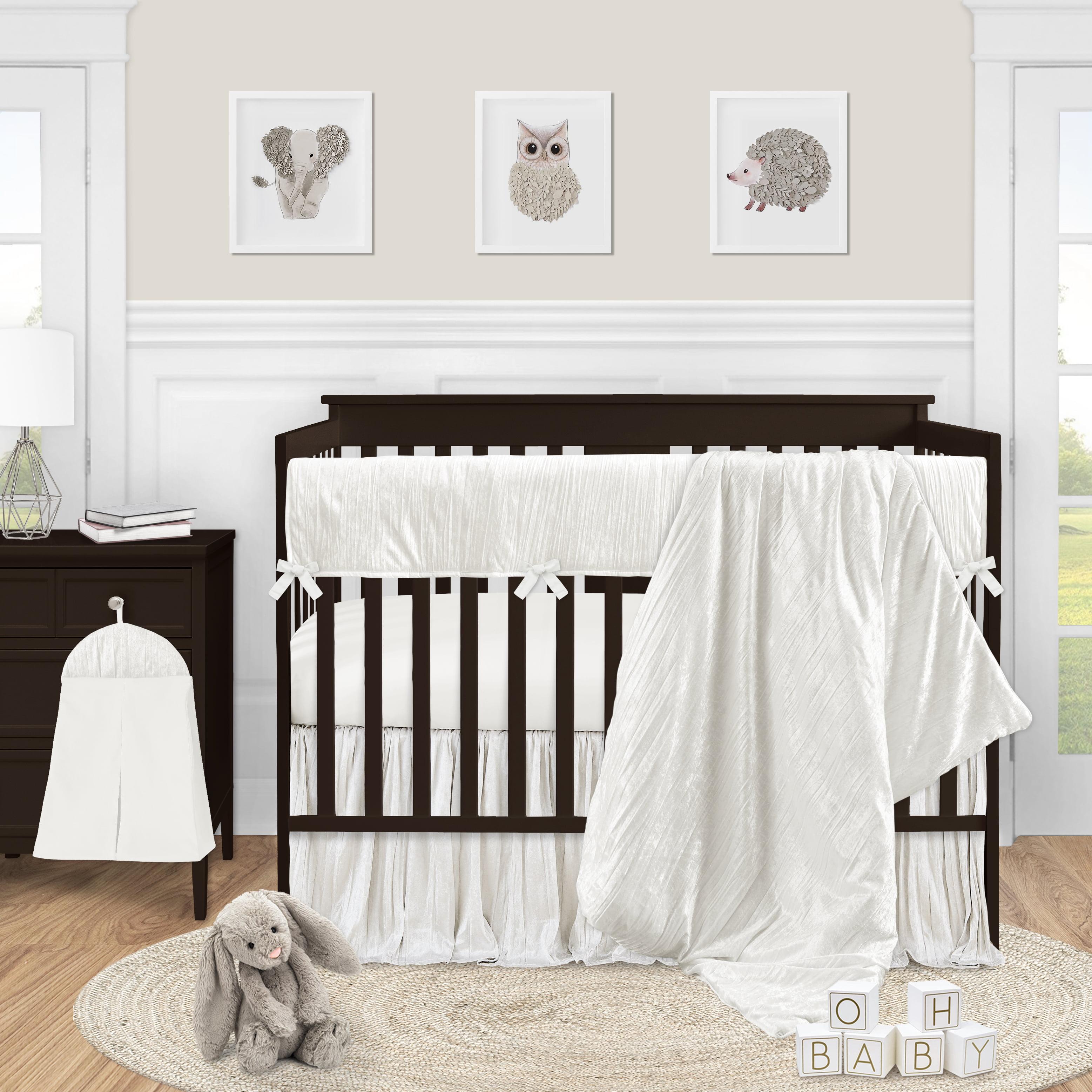 Sweet Jojo Designs Ivory Velvet Baby Girl Nursery Crib Bedding Set 5 Pieces Solid Color Off White Cream Crinkle Crushed Luxurious Elegant Boho Shabby Chic Vintage Luxury Princess Boutique Designer