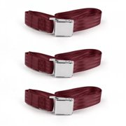 Airplane 2 Point Burgundy Lap Bench Seat Belt Kit with 3 Belts for 1967-1974 AMC AMX