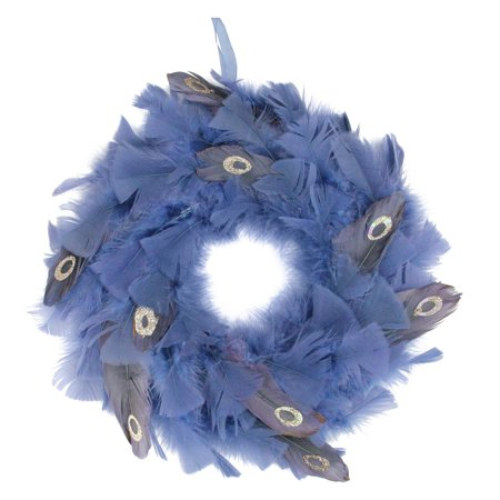 Northlight Regal Peacock Embellished Blue Feather Christmas Wreath - Halloween Feather Wreath Tutorial