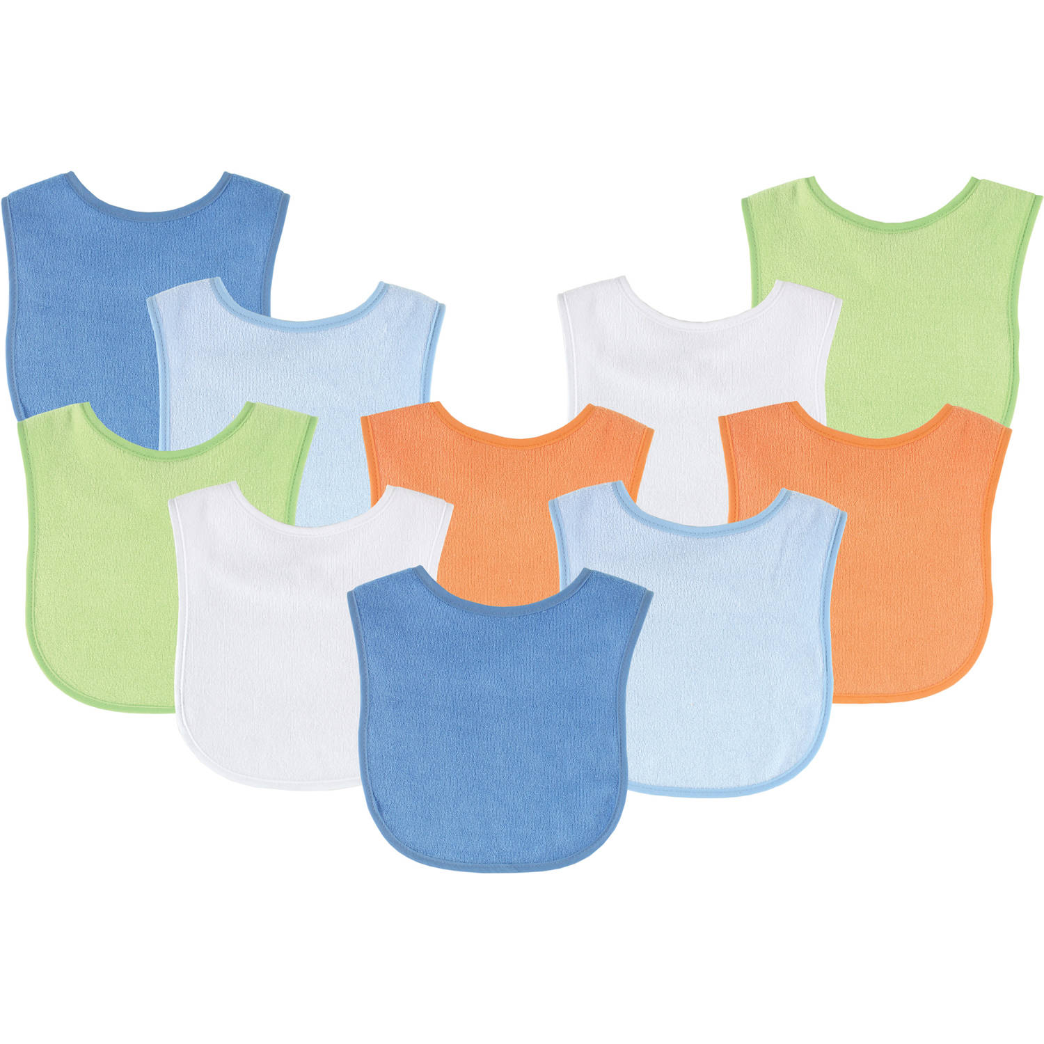 Luvable Friends 10-Piece Baby Bibs Red Solid