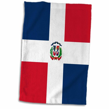 3dRose Flag of the Dominican Republic - navy blue and red squares with white cross - coat of arms shield - Towel, 15 by 22-inch