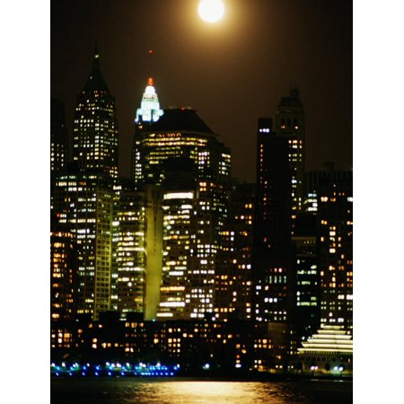 Building and High Rises of Manhattan, New York Skyline Illuminated by Lights at Night Print Wall Art
