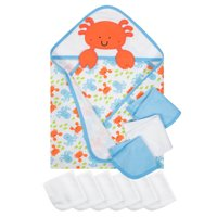 Gerber Baby Boy Terry Hooded Towel and Washcloth Set, 10pc