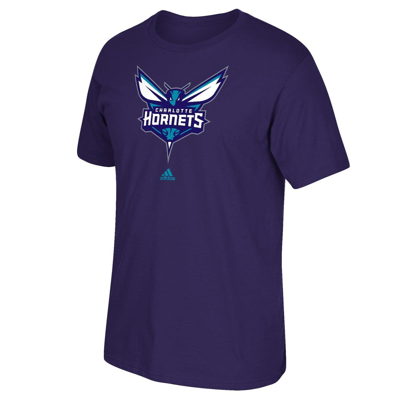 Charlotte Hornets Adidas Primary logo NBA Men T Shirt Purple S by Adidas