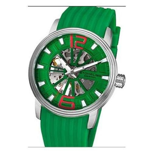 Stuhrling Original 1078.3316D5 Mens Delphi Achilles Skeleton Watch on a Stainless Steel Case, Green Skeletonized Dial, and Green Rubber StrapShow More +