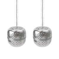 """Unique Bargains 2 Pcs 2.2"""" Dia Stainless Tea Ball Infuser Strainer for Loose Tea Spice"""
