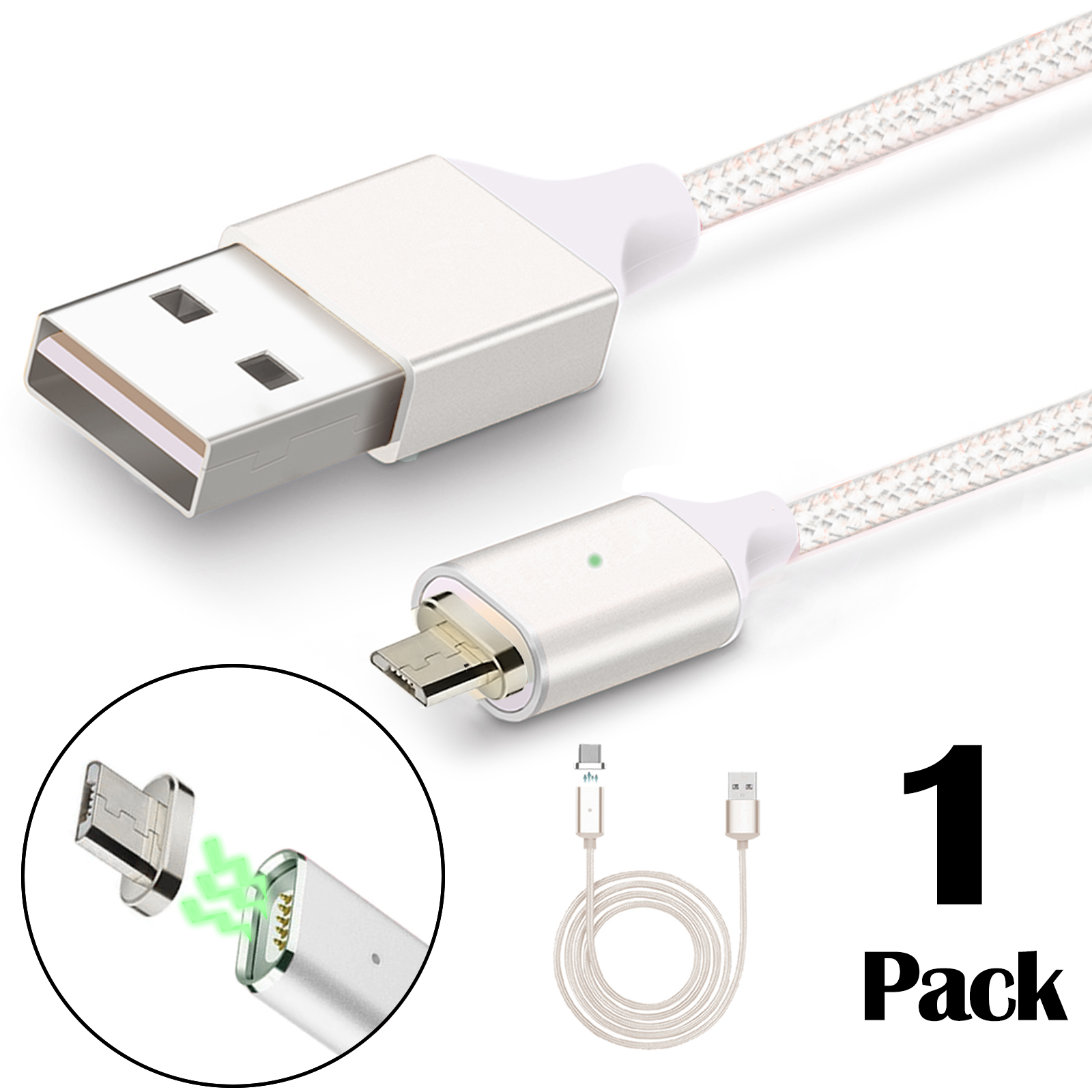3.3ft 2.4A Braided Magnetic Micro USB Cable Universal Android Samsung Quick Charger w/ For Phone Tablet (Silver)