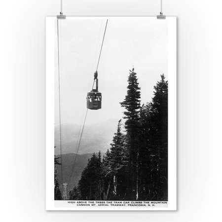 Franconia Notch State Park, NH - View of the Cannon Mountain Aerial Tramway - Vintage Photograph (9x12 Art Print, Wall Decor Travel