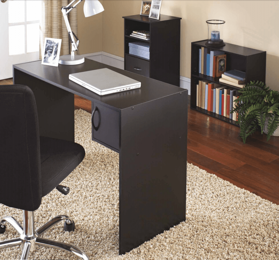 Mainstays 31-Piece Desk and Bookcase Office Set, Black Finish