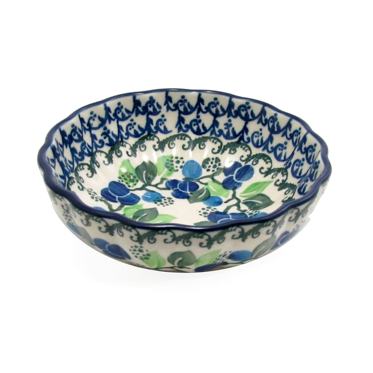 "Polish Pottery 4.5"" Fluted Dessert Dish Handmade Traditional Pattern - 023-1416"