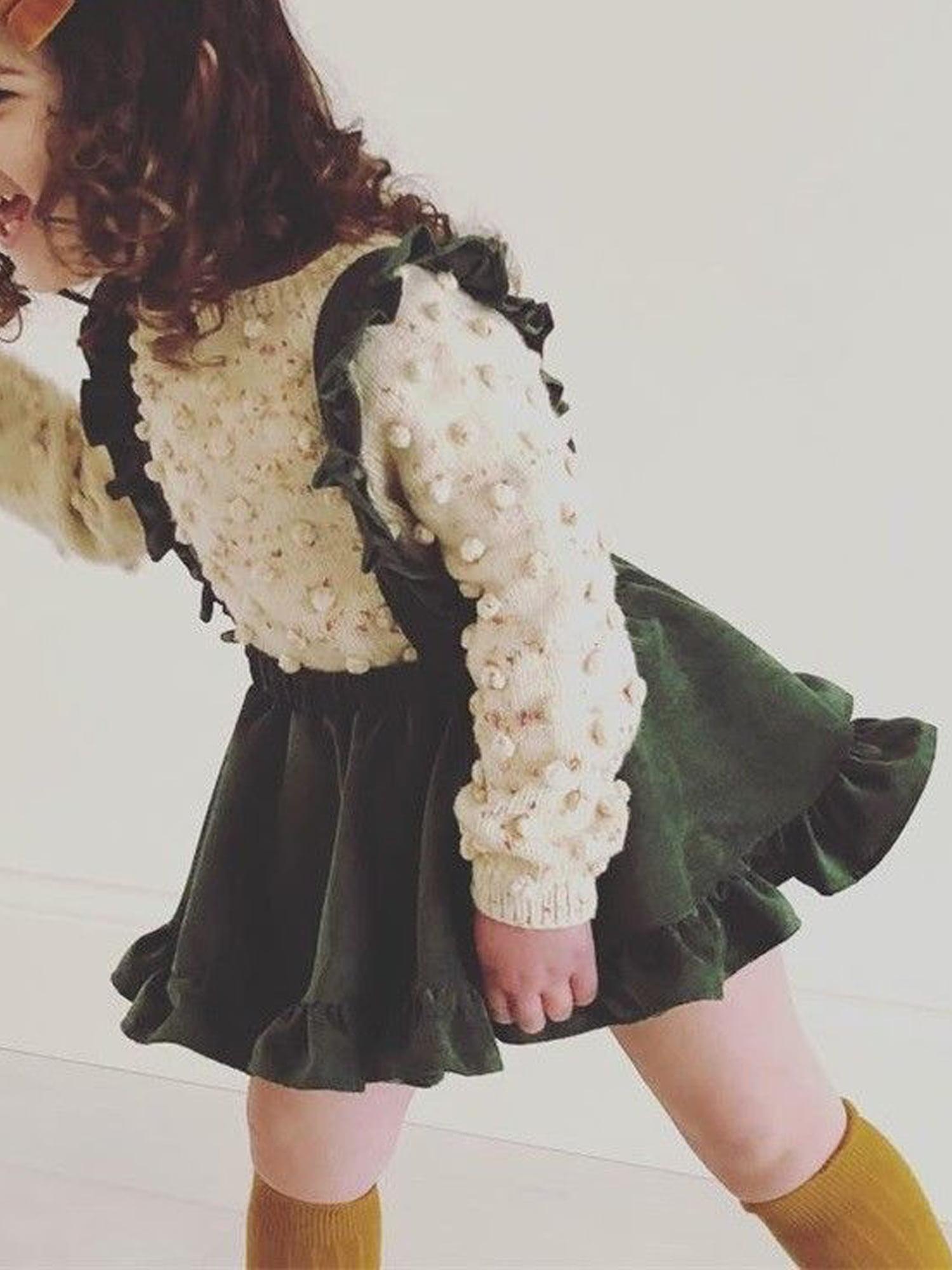 Ambabe Toddler Baby Girl Velvet Suspender Skirt Sleeveless Strap Overalls Skirt Solid Color Ruffled Casual Tutu Dress Outfit