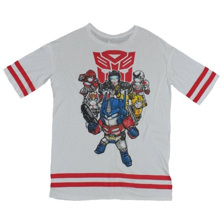 Transformers Girls Juniors T-Shirt - Cutie Transformers and Striped Sleeves - Girls Transformers