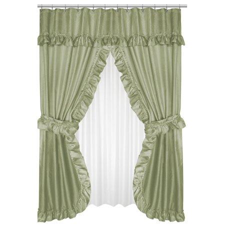 Royal Bath Lauren Double Swag Dobby Fabric Shower Curtain 100