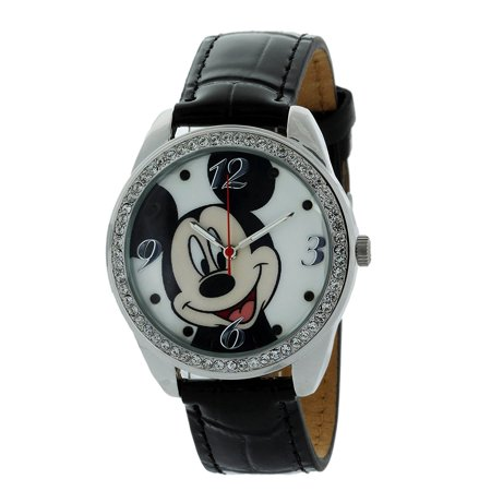 Ang Bezel (Mickey Mouse Watch With Stone Bezel and Genuine Leather Black Strap MCK919 )