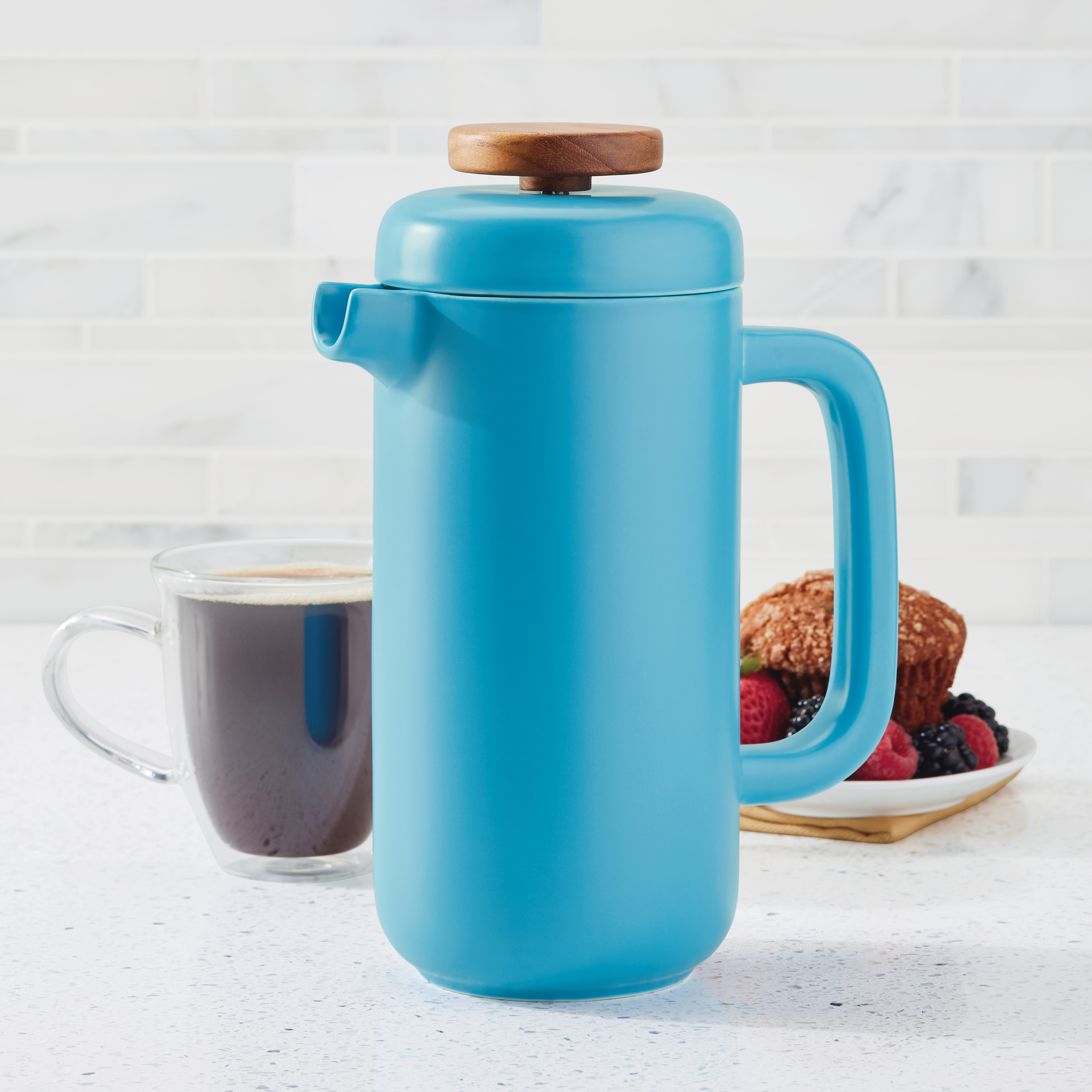 BonJour Ceramic Coffee and Tea 8-Cup Ceramic French Press, Aqua