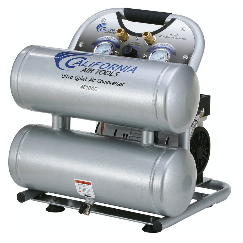 California Air Tools CAT-4610AC 1 HP 4.6 Gallon Ultra Quiet Aluminum Twin Tank Air Compressor