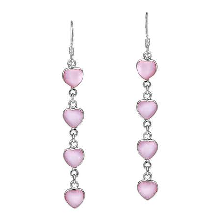 Long Link Earrings - Long Pink MOP Heart Link .925 Silver Earrings