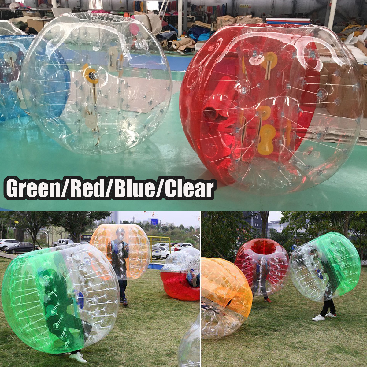 1.5m Human Body Bubble soccerball Soccer Football PVC Inflatable Bumper Ball Outdoor Clear,Blue,Red,Green