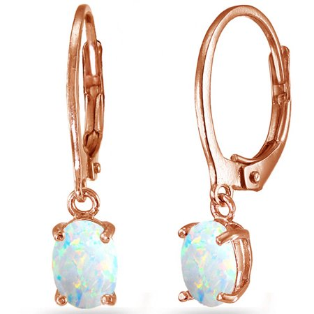 Created White Opal Rose Gold Flashed Sterling Silver 7mm x 5mm Oval Dangle Leverback Earrings Created Opal Leverback Earrings