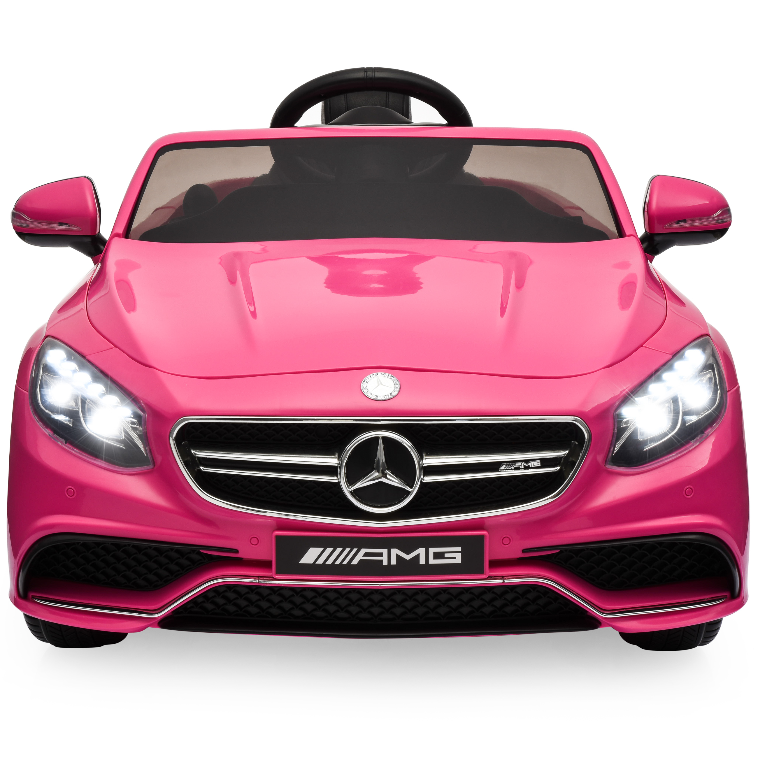 Best Choice Products 12V Ride On Mercedes S63 Coupe Car w/ Parent Remote, 3 Speeds, MP3 player, LED Lights - Pink