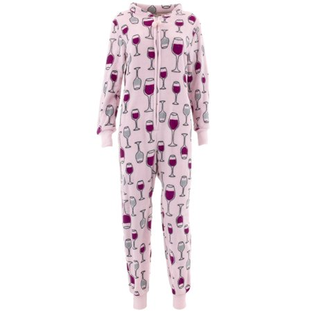 0dfc5315137d PJ Couture - PJ Couture Women s Wine Pink One-Piece Pajamas - Walmart.com