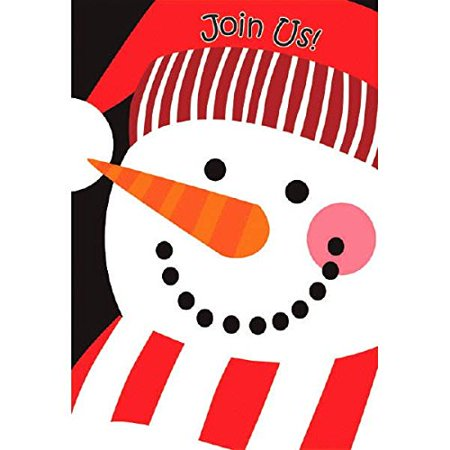 Festive Christmas and Holiday Party Snowman Buddy Postcard Invitation , Red/White/Black, Paper , 6 1/4