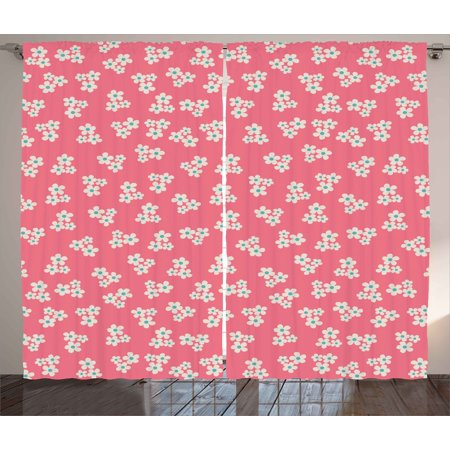 Country Home Curtains 2 Panels Set, Cute Little Daisies Bouquets Girls Bedroom Desgin Freshness Pink Backdrop, Window Drapes for Living Room Bedroom, 108W X 63L Inches, Teal Pink White, by Ambesonne