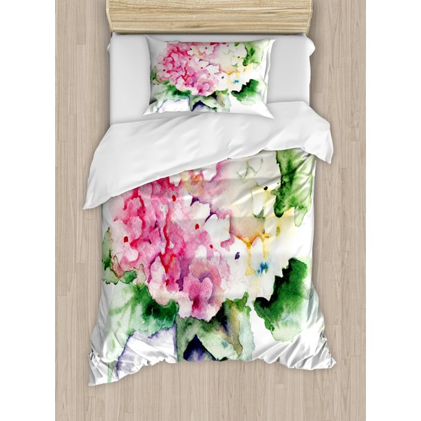 Floral Duvet Cover Set Hydrangea Flower Bouquet In Watercolor Blossoms Botany Petals Image Decorative Bedding Set With Pillow Shams Pink Yellow Forest Green By Ambesonne Walmart Com Walmart Com