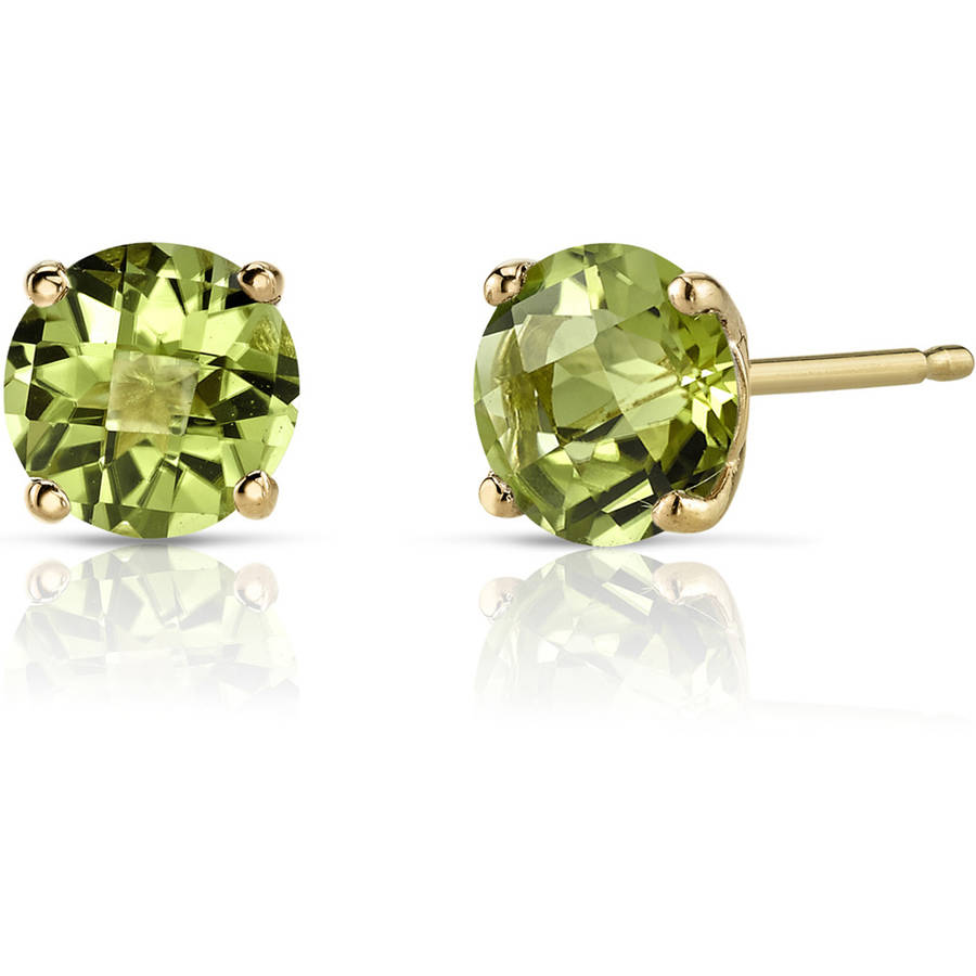 Oravo 1.75 Carat T.G.W. Round-Cut Peridot 14kt Yellow Gold Stud Earrings
