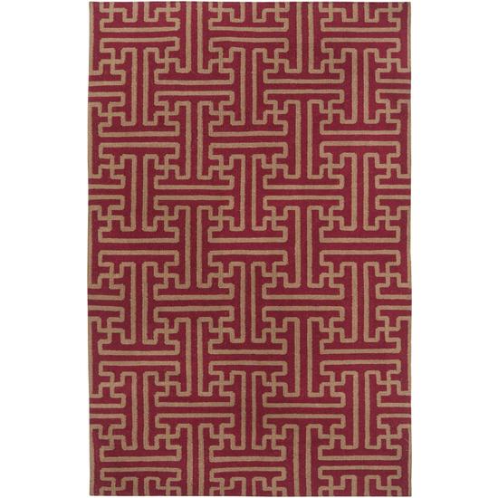 8' x 11' Block Pillars Brown and Maroon Red Wool Area Throw Rug