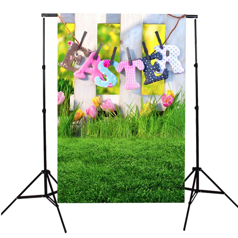 3X5FT Nature Grassland Backdrop Green Lawn Easter theme Background White Board & Flower Photography Backdrop Studio Photo Screen Props