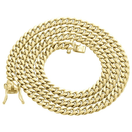 Mens 10K Yellow Gold Hollow Miami Cuban Link Chain 5.50mm Box Clasp 22 Inches ()