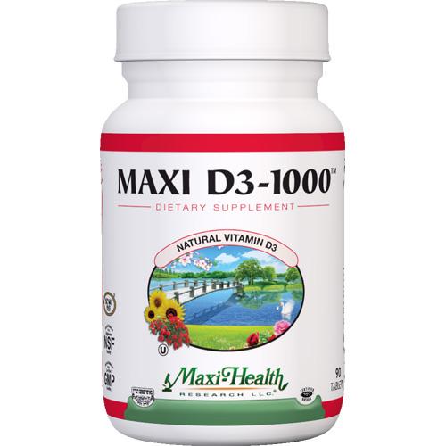 Maxi Health Kosher Vitamins Maxi D3 1000 - 1000 IU - 90 Tablets
