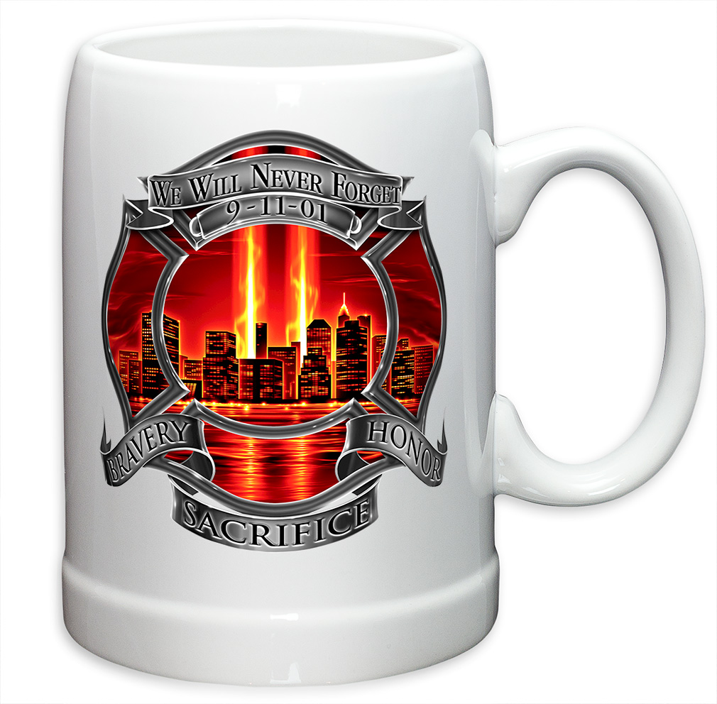 German Beer Stein � Firefighter Gifts for Men or Women � Red Tribute High Honor StoNeware... by