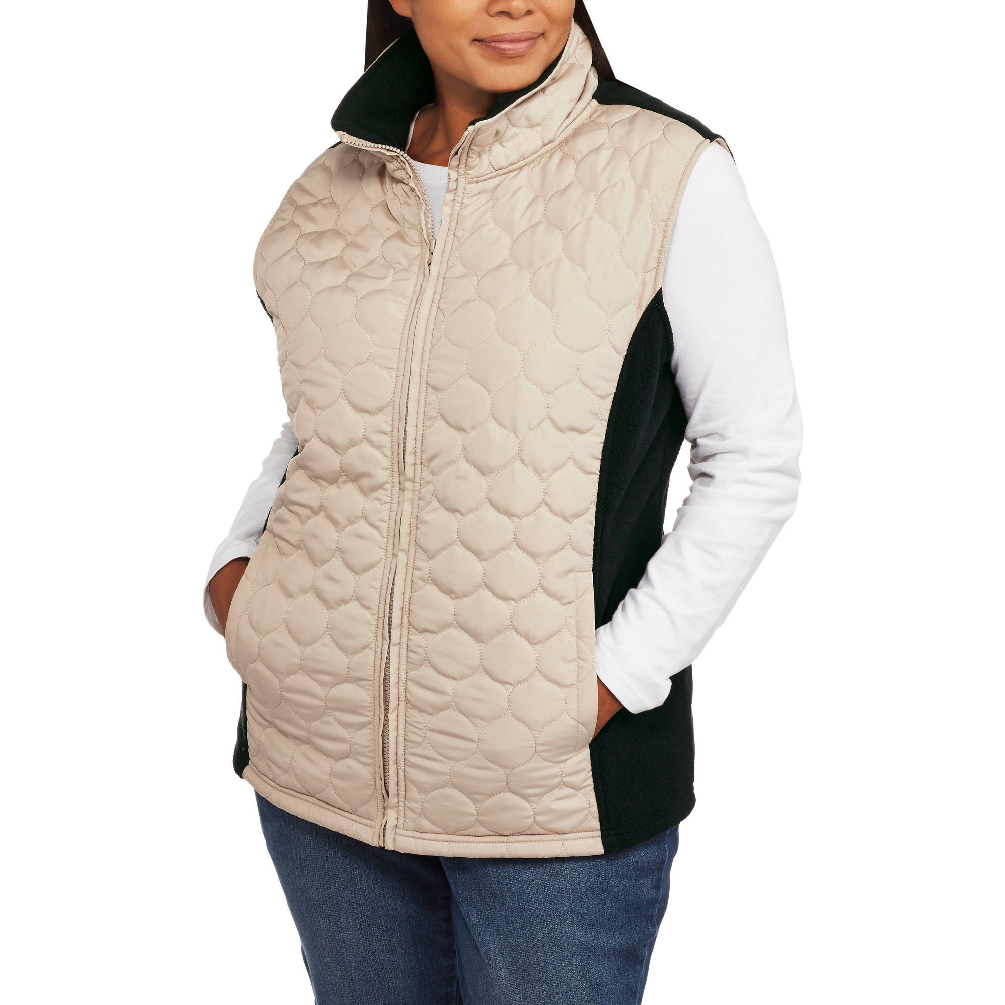 Climate Concepts Women's Plus-Size Quilted Vest with Cozy Microfleece Back