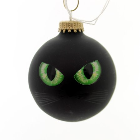 Holiday Ornaments HALLOWEEN CAT EYES/EYEBALL Glass Spooky 710019A Black](Small Glass Halloween Ornaments)
