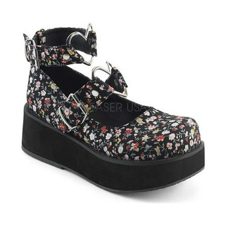 Demonia Suede Platforms - Women's Demonia Sprite 02 Platform Mary Jane