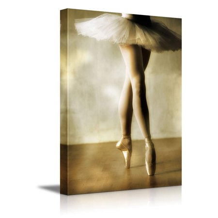 Wall26 Canvas Prints Wall Art - Beautiful Ballerina Dancing with White Tutu | Modern Wall Decor/ Home Decoration Stretched Gallery Canvas Wrap Giclee Print. Ready to Hang - 36