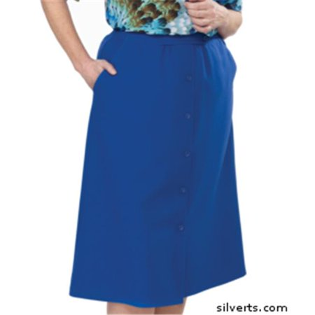 (Silverts 131300104 Womens Regular Elastic Waist Skirt With Pockets - Cobalt, Size 10)